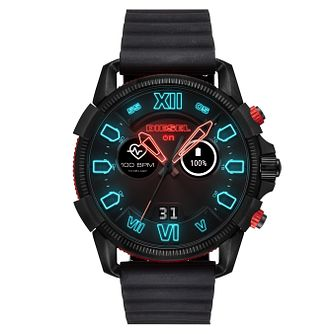 Diesel On Men's Digital Animated Black Silicone Strap Watch - Product number 9805087