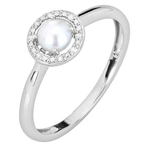 Silver Rhodium Plated Button Pearl & 0.03ct Diamond Ring - Product number 9805508