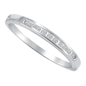 9ct white gold 1/10ct diamond eternity ring - Product number 9806474
