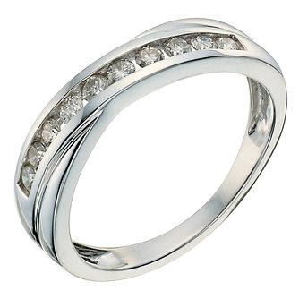 9ct white gold 1/3ct diamond crossover eternity ring - Product number 9807276