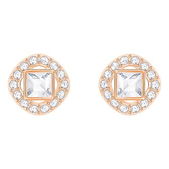 Swarvoski Ladies' Rose Gold Angelic Square Stud Earrings - Product number 9808019