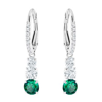 Swarvoski Ladies' Attract Triology Green Drop Earrings - Product number 9808043