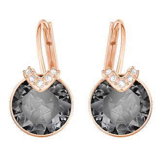 Swarvoski Ladies Rose Gold Plated Bella Black Drop Earrings - Product number 9808051