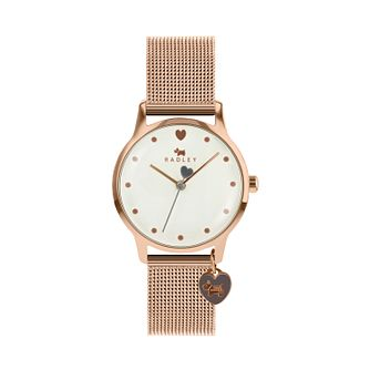 Radley London Ladies' White Dial Rose Gold Tone Mesh Watch - Product number 9808868