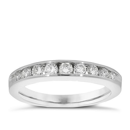 Platinum 0.50ct diamond half-eternity ring - Product number 9826157