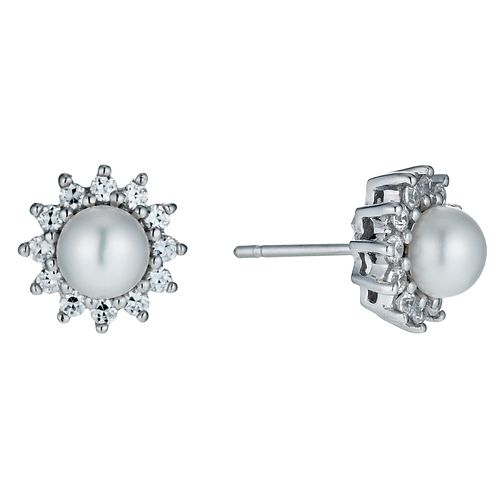 Sterling Silver Cultured Pearl & Cubic Zirconia Earrings - Product number 9898247