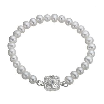 Sterling Silver Cultured Freshwater Pearl Vintage Bracelet - Product number 9898352