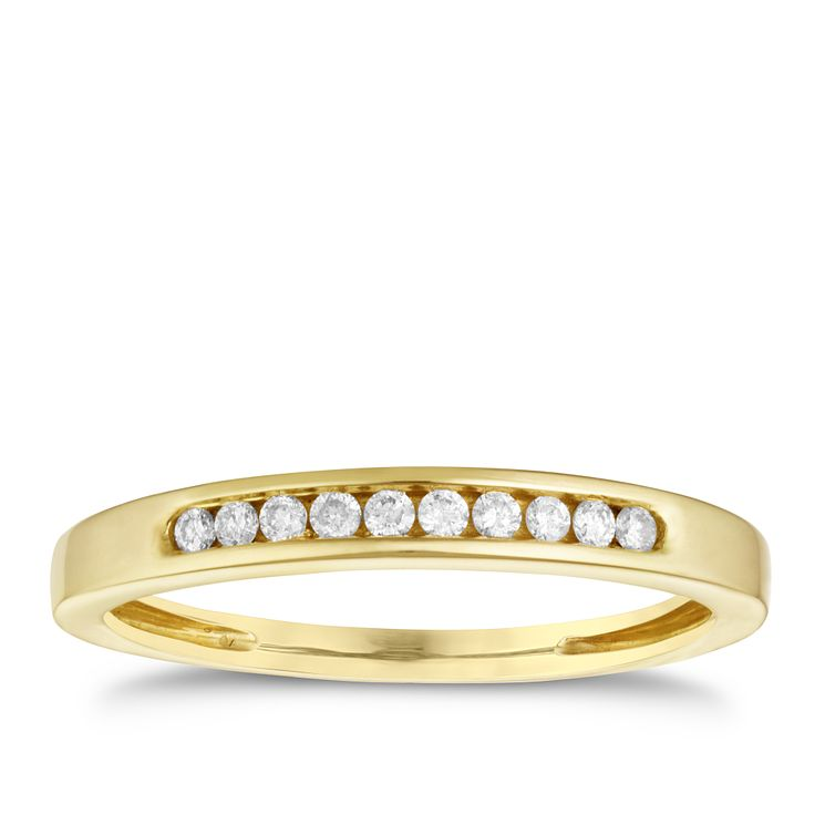 9ct yellow gold 10 point diamond eternity ring - Product number 9908609