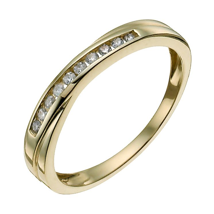9ct yellow gold 10 point diamond crossover eternity ring - Product number 9908730