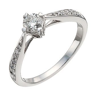9ct white gold 0.50ct diamond solitaire ring - Product number 9911707