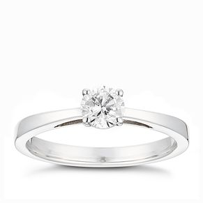 Tolkowsky platinum 2/5ct HI-SI2 diamond ring - Product number 9912398