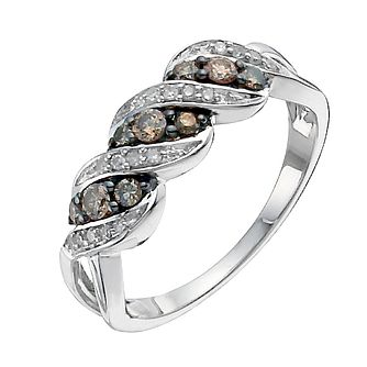 Sterling silver 0.33ct natural brown diamond ring - Product number 9915265