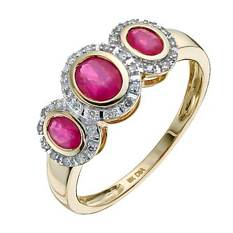 9ct yellow gold oval treated ruby & diamond three stone ring - Product number 9916997