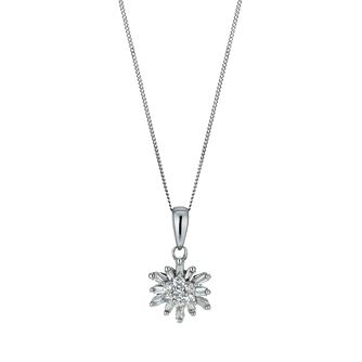 9ct white gold 0.20ct diamond snowflake pendant necklace - Product number 9917152