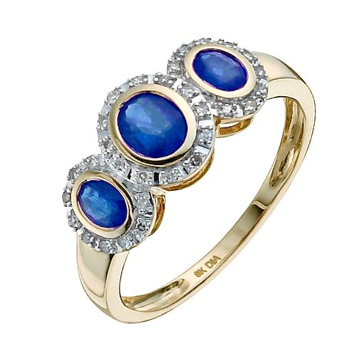 9ct yellow gold oval sapphire & diamond three stone ring - Product number 9917934