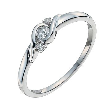 Love's Embrace 9ct white gold three stone diamond twist ring - Product number 9919775