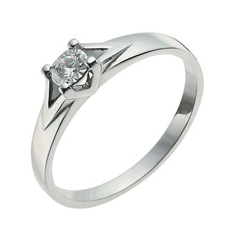 9ct White Gold Illusion Diamond Solitaire Ring - Product number 9922199
