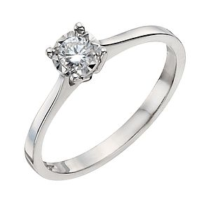 9ct White Gold 1/6 Carat Diamond Solitaire Ring - Product number 9922598