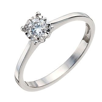 9ct White Gold 1/5 Carat Diamond Solitaire Ring - Product number 9922725