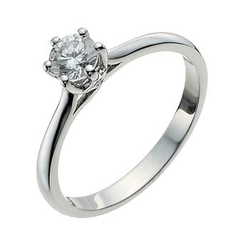 9ct White Gold One Third Carat Diamond Solitaire Ring - Product number 9923659