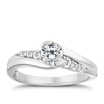 9ct White Gold Half Carat Diamond Solitaire Ring - Product number 9924043