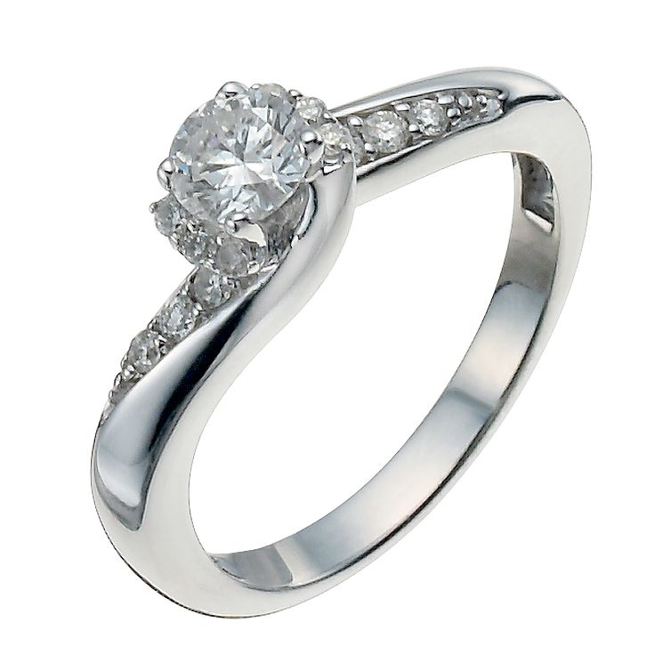9ct White Gold Half Carat Diamond Solitaire Ring - Product number 9924175