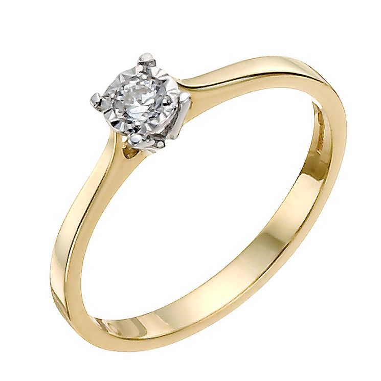 9ct Yellow Gold 10pt Illusion Set Diamond Solitaire - Product number 9924701