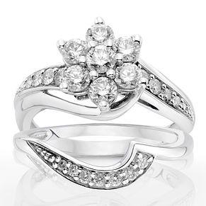 9ct White Gold 1ct Diamond Perfect Fit Bridal Set H Samuel