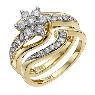 9ct Yellow Gold 3/4 Carat Diamond Bridal Set - Product number 9929975