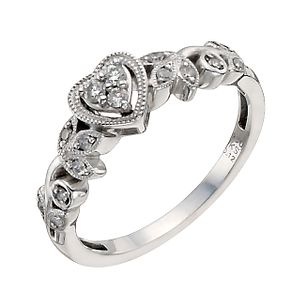 Cherished Argentium Silver 12pt Diamond Heart Ring - Product number 9931155