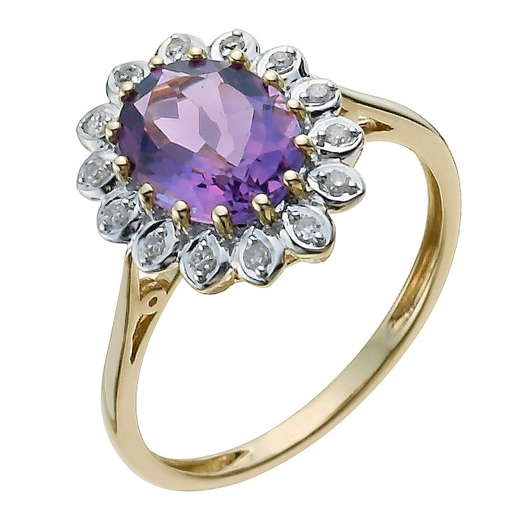 9ct Yellow Gold Diamond & Amethyst Ring - Product number 9933263