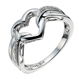 Argentium Silver Diamond Kiss Heart  Ring - Product number 9934324