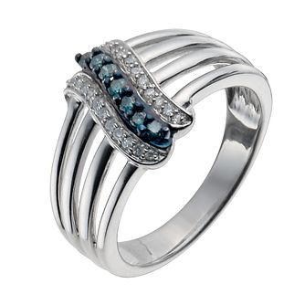 Sterling Silver 1/5 Carat White & Treated Blue Diamond Ring - Product number 9935258