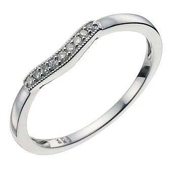 9ct white gold shaped diamond ring product number 9943862 - White Gold Wedding Ring