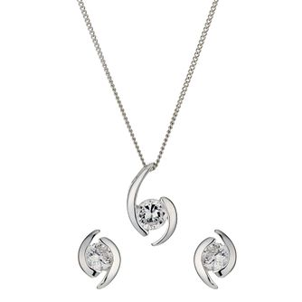 Sterling Silver Cubic Zirconia Earrings & Pendant Set - Product number 9951717