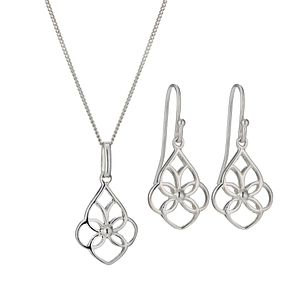 Sterling Silver Celtic Earring & Pendant Set - Product number 9952764