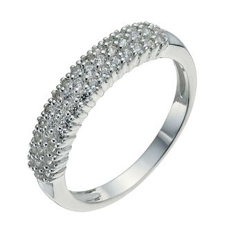 Sterling Silver & Cubic Zirconia Band Ring Size N - Product number 9953434