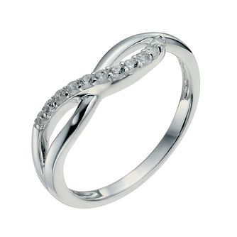 Sterling Silver & Cubic Zirconia Crossover Ring Size L - Product number 9953469