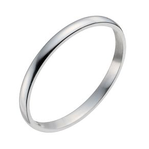9ct White Gold 2mm Heavy D Shape Ring - Product number 9953639
