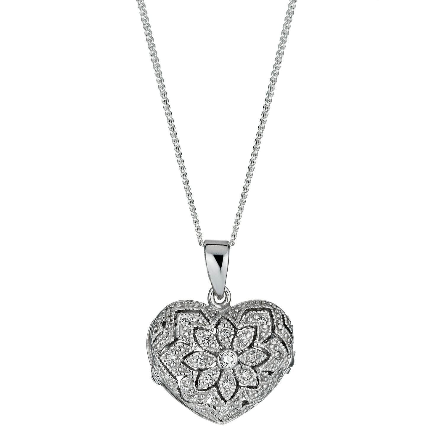 engraved lockets locket women sterling heart flower with for flowers silver pretty necklace in