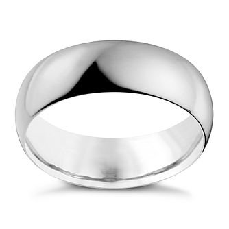 9ct White Gold 7mm Extra Heavy D Shape Ring - Product number 9955283