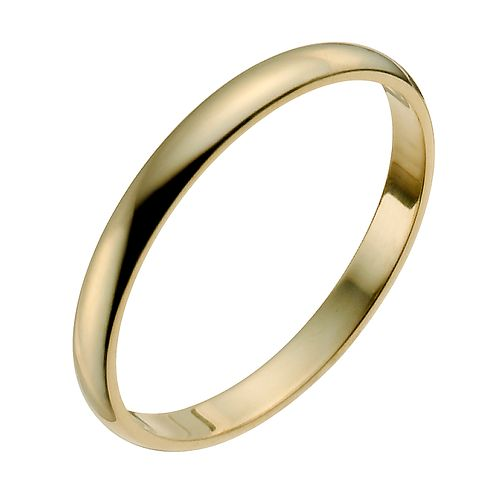 18ct Yellow Gold 2mm Heavy D Shape Ring - Product number 9955941