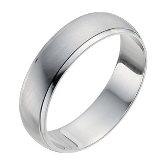 Men's 18ct White Gold 5mm Matt & Polished Band Ring - Product number 9956611
