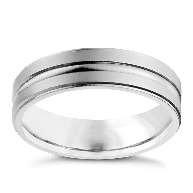 Men's Palladium 950 Matt & Polished Band Ring - Product number 9958290