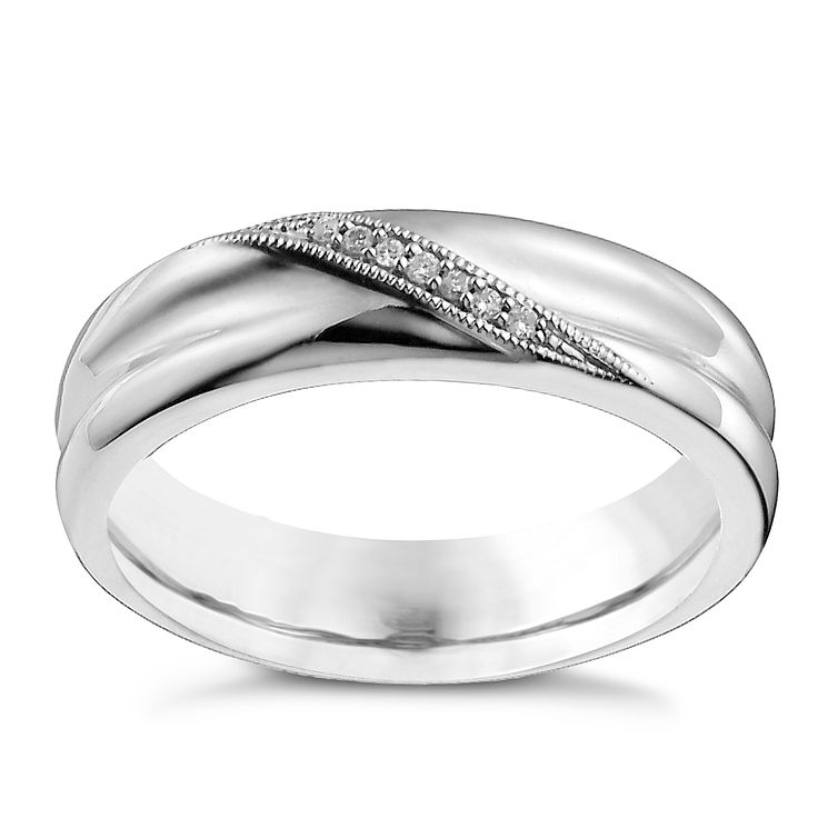 Men's 9ct White Gold Diamond Ring - Product number 9963197