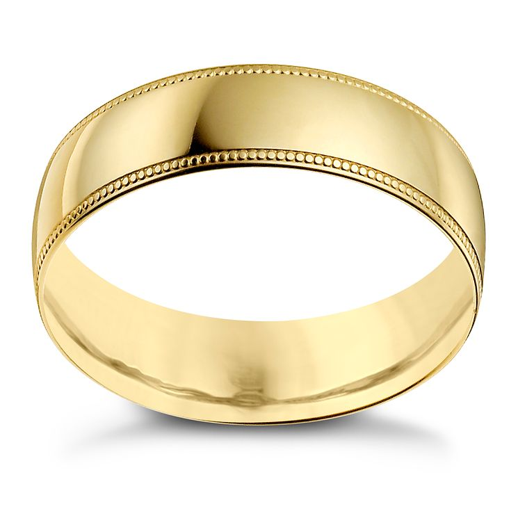 9ct Yellow Gold 6mm Milgrain Edge Ring - Product number 9966013