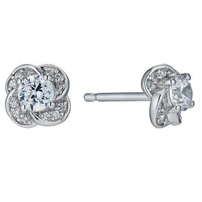 Sterling silver cubic zirconia flower earrings - Product number 9967109