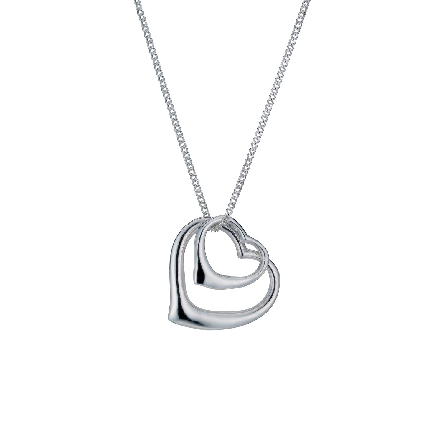 Necklaces chains pendants ernest jones sterling silver double open heart pendant product number 9967133 mozeypictures Image collections