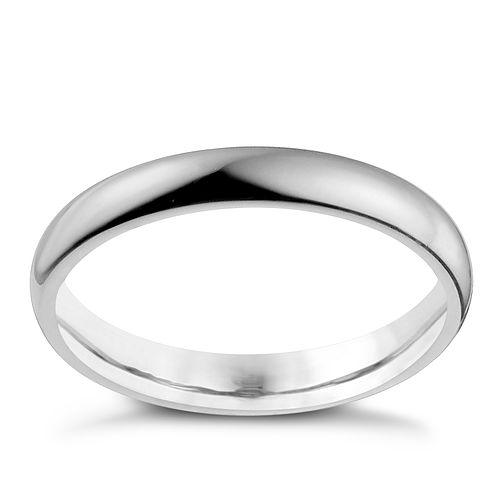 9ct White Gold 3mm Super Heavy Court Ring - Product number 9968792