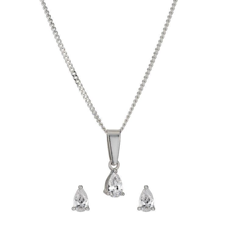 Sterling Silver Pear Cubic Zirconia Earrings & Pendant Set - Product number 9972404